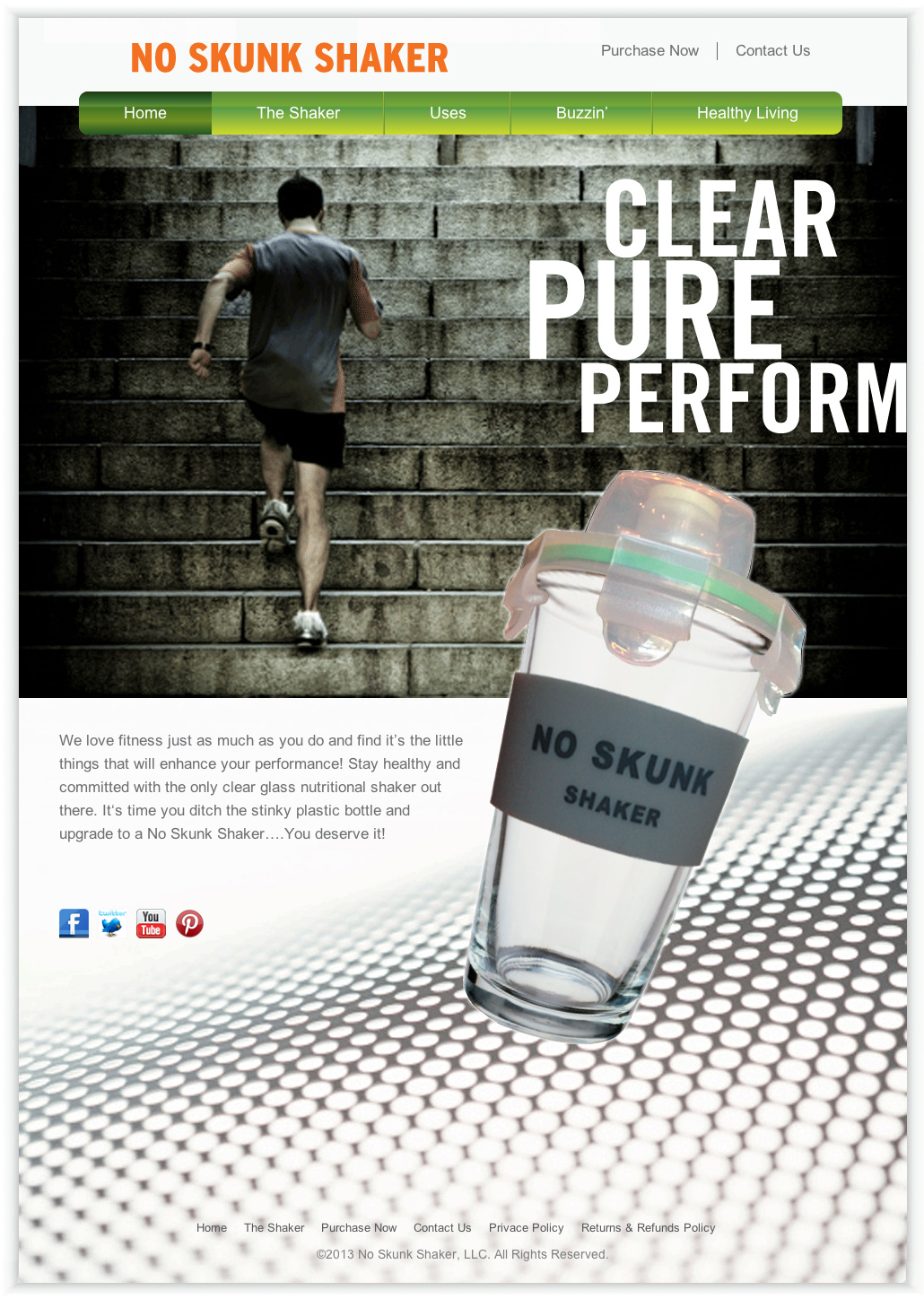 Website design, nutrition, health industry. No Skunk Shaker